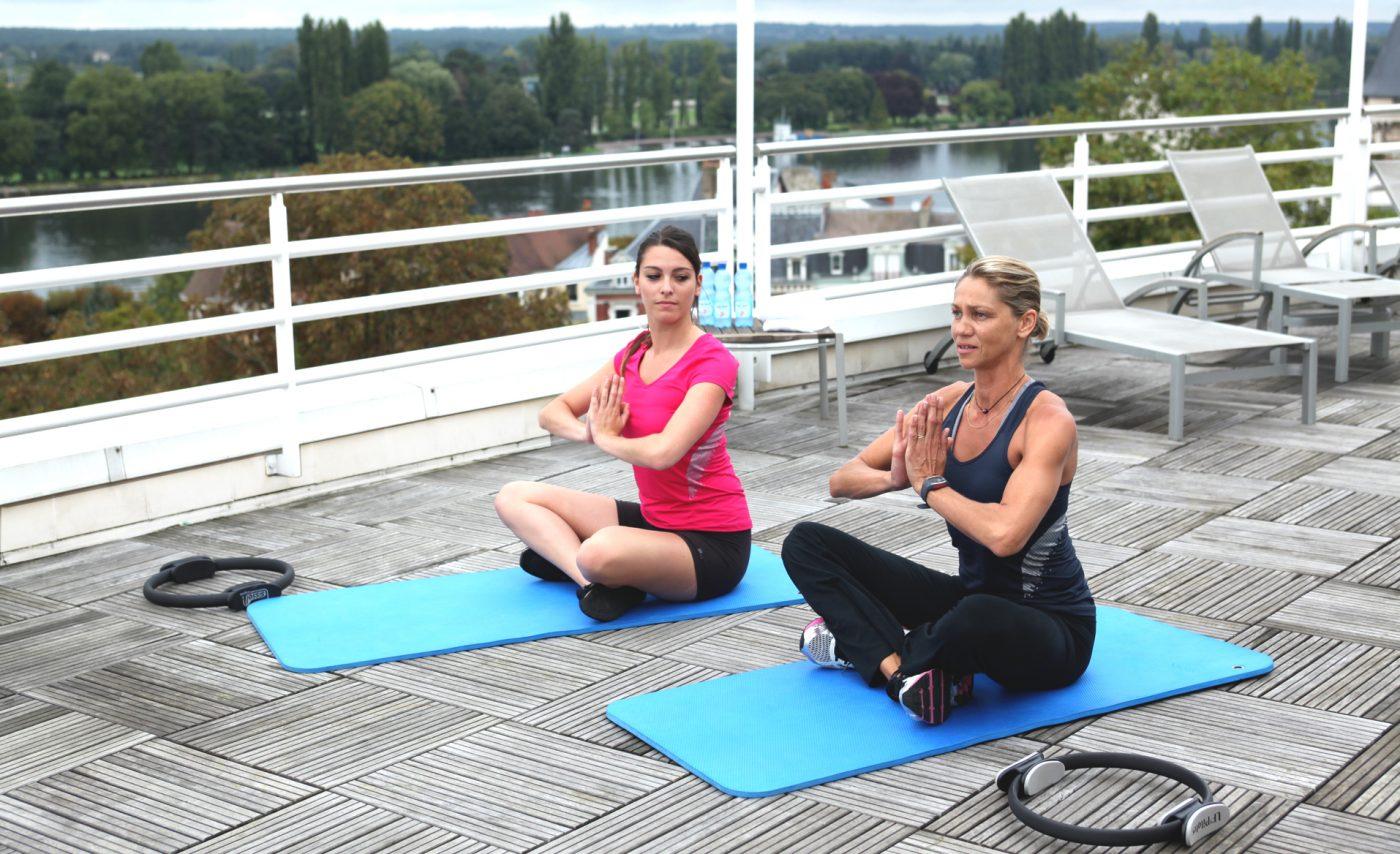 Exercice sur la terrasse du Vichy Célestins Spa Hôtel©Emanuela-CINO