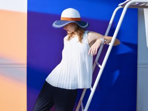Capeline, Top plissé, l'élégance de la Ligne Héritage Femme(c)Roland-Garros