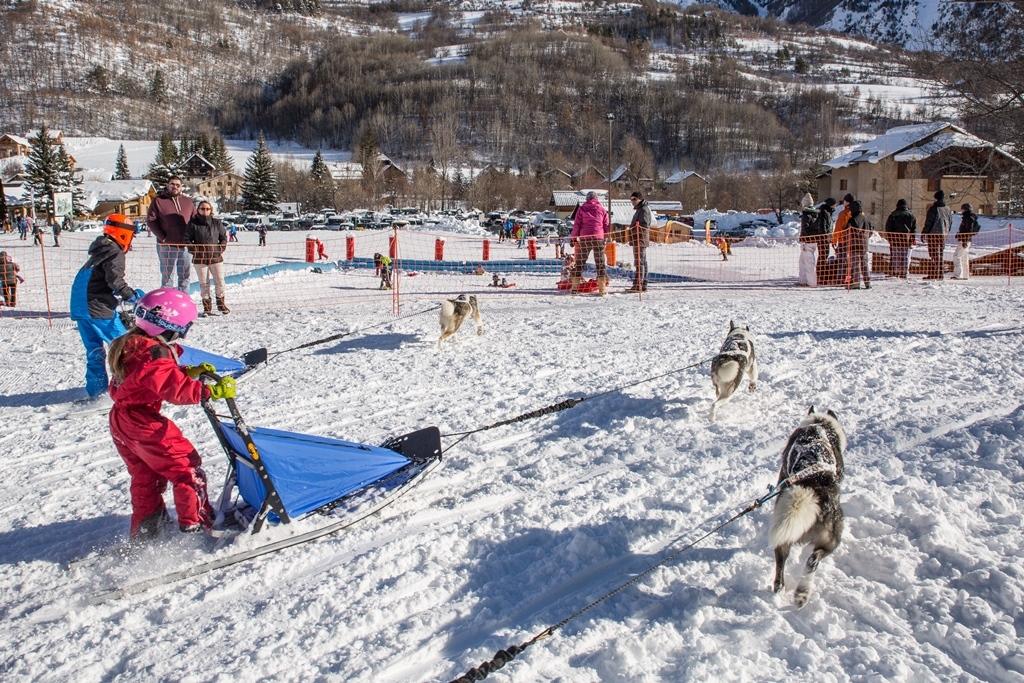 Baby mushers dans le parc(c)Thibaut Blais/OTI Pays des Ecrins